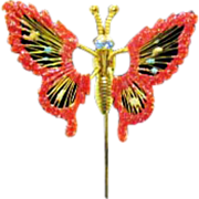 SALE Vintage Trembler Costume Jewelry Butterfly Stick Pin