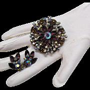 SALE Amazing Vintage Plum Rhinestone Brooch Earrings Set Art Glass Stones