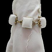 SALE Perfect White Vintage Lucite Brick Bracelet