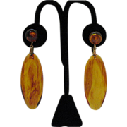 SALE Vintage Tortoise Shell Colored Lucite Dangle Earrings