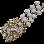 SALE Vintage Three Strand Milk Glass Beaded Bracelet & Rhinestones