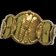 SALE Vintage Hand Wrought Modernist Brass Cuff Bracelet