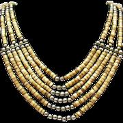 SALE Vintage Sterling Silver Heishi Festoon Beaded Necklace~Native American Indian