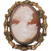 Signed P.S. Company Antique 12K G.F. Cameo Brooch/Pendant