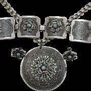 Vintage Aluminum Eloxal Parure Aztec Design!