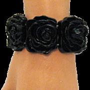 SALE Vintage Black Rose Stretch Bracelet