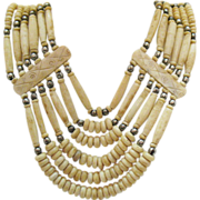SOLD Vintage Native American Indian Buffalo Bone Sterling Necklace