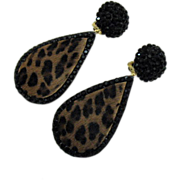 SALE Signed Richard Kerr Vintage Mink Leopard Print Earrings