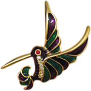 SALE Poured Glass Vintage Rhinestone Humming Bird Brooch