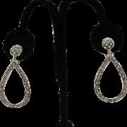 SALE Wonderful Tear Drop Dangle Clip Earrings~32 Rhinestones!