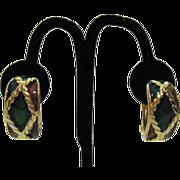 SALE Vintage Enameled Chunky Half Hoop Clip Earrings