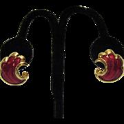 SALE Sparkling Red Enameled Golden Pierced Earrings
