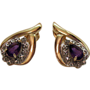 SALE Vintage Gold over Sterling Silver Amethyst Pierced Earrings