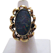 Elaborate Vintage Black Opal 10K Gold Ring~Hand Crafted