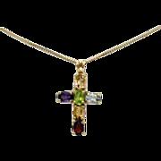 SALE Italian 925 Gilt Gemstone Cross Pendant Necklace
