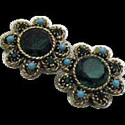 Vintage Emerald Green Rhinestone Earrings Faux Turquoise