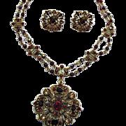 SALE Vintage Avon of Belleville Victorian Revival Necklace Earrings Set