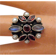 SALE Vintage Estate Retired Nicky Butler Gemstone Sterling Silver Ring