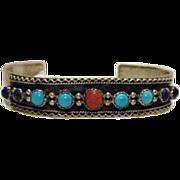 SALE Vintage RB Navajo American Indian Sterling Cuff Bracelet