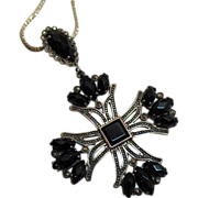 SALE Vintage Maltese Cross Onyx Sterling Marcasite Pendant Necklace