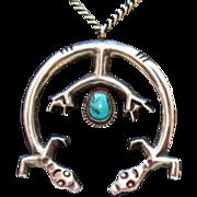 SALE Unusual Navajo Indian Double Naja Yeis Pendant Necklace~Sterling