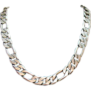 50% OFF~Vintage Unisex Figaro Chain Necklace Sterling Silver~104.1 Grams~Unsex!