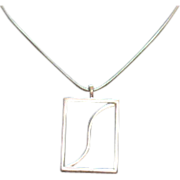 SALE Awesome Vintage Mid Century Silver Pendant Necklace