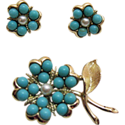 Vintage Sarah Coventry Beaded Flower Brooch & Earring Set