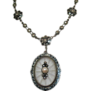 SALE Sterling Camphor Glass Enamel & Marcasite Lavaliere Necklace