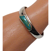 SALE Vintage Sterling Silver Turquoise Stone Cuff Bracelet