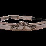 SALE Vintage Sterling Silver Leather Horse Motif Bracelet