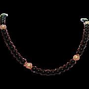 SALE Gorgeous 14K Gold Onyx & Fresh Water Pearl Necklace/Bracelet Set
