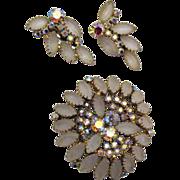 Vintage Satin Glass & AB Rhinestone Brooch & Earrings Set