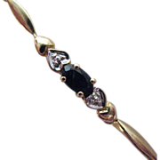 SALE Vintage 10K Gold Blue Sapphire Heart Bracelet