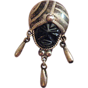 Sterling Black Onyx Aztec Tribal Face Brooch/Pin