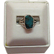 SALE Sterling Vintage American Indian Turquoise Ring