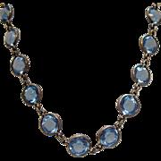 SALE Art Deco Vintage Collete Blue Sapphire Glass Sterling Necklace