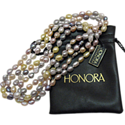 Vintage Estate Honora Fresh Water Cultured Baroque Pearl Necklace~54 Inches Long!