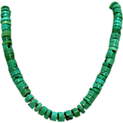 SOLD Native American Natural Hand Cut Turquoise Necklace
