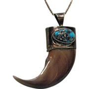 SOLD Awesome Bear Claw Turquoise Pendant Necklace