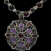 SALE Gorgeous Vintage Marcasite Amethyst Garnet Necklace