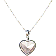 Vintage Italian Made Sterling Silver Faceted Puff Heart Pendant Necklace
