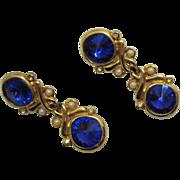SALE Glamorous Vintage Royal Blue Rivoli Rhinestone Clip Earrings