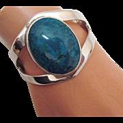 SALE Captivating Vintage Taxco Sterling Silver Turquoise Bracelet BOLD TC-15