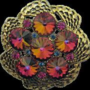 SALE Gorgeous Vintage Watermelon Rivoli Rhinestone Brooch Earrings Set