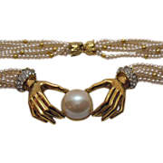 SALE Vintage Six Strand Faux Pearl Hand Necklace