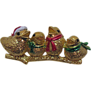 SOLD Vintage Signed AJC Singing Christmas Bird Brooch