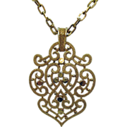 Vintage Signed Crown Trifari Gold Medallion Pendant Necklace