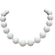 SALE Early Signed Monet Vintage White Ribbed Beaded Necklace