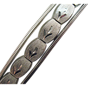 Unusual Vintage Rhodium Plated Floral Bracelet